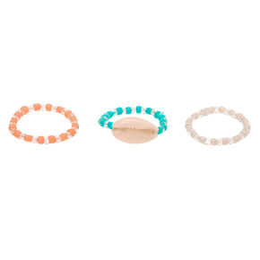 Pastel Shell Stretch Rings - 3 Pack,
