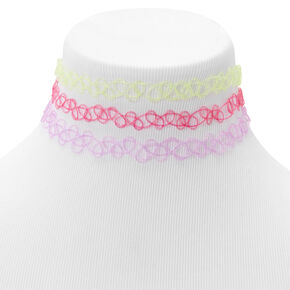 Glitter Tattoo Choker Necklaces - 3 Pack,