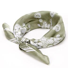Paisley Satin Bandana Headwrap - Sage,