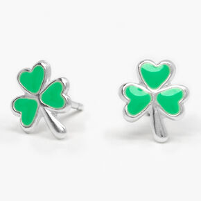 Sterling Silver Shamrock Stud Earrings - Green,