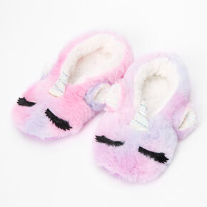 Glitter Unicorn Furry Slippers,