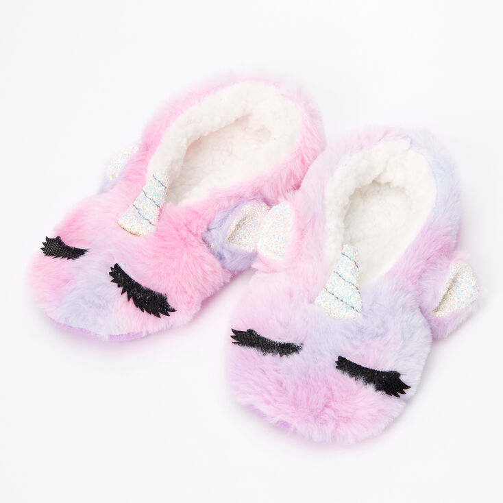 Glitter Unicorn Furry Slippers,