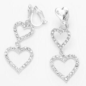 """Silver 1.5"""" Triple Heart Clip On Drop Earrings,"""