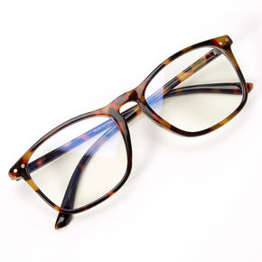 Solar Blue Light Reducing Retro Tortoiseshell Clear Lens Frames - Brown,