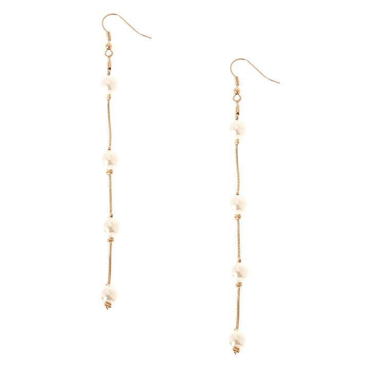 Gold Tone And Faux Pearl Long Dangle Earrings