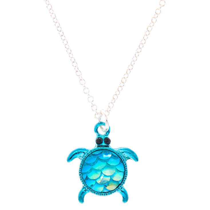 Turtle Pendant Necklace - Blue,