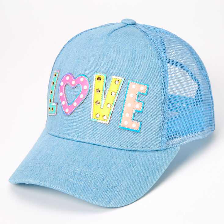 Love Studded Denim Trucker Hat - Blue,