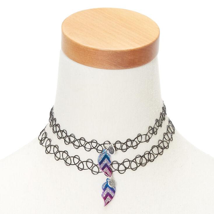 Best Friends Chevron Heart Tattoo Choker Necklaces - 2 Pack,