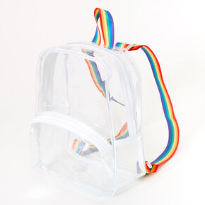 Transparent Rainbow Strap Small Backpack - Clear,