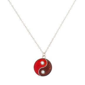 Sparkly Mood Yin Yang Pendant Necklace,