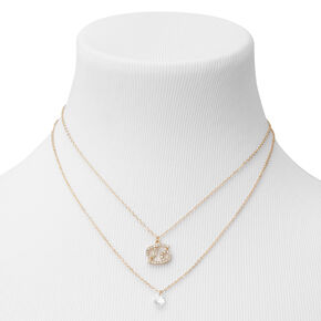 Gold Cubic Zirconia Zodiac Multi Strand Necklace - Cancer,