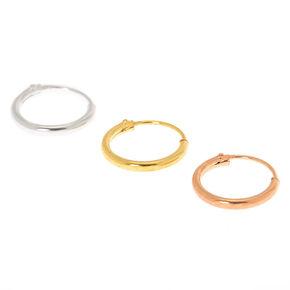 Mixed Metal Sterling Silver 22G Cartilage Hoop Earrings - 3 Pack,