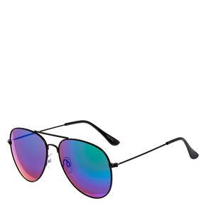 Metallic Aviator Sunglasses - Black,