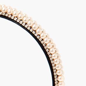 Serre-tête multi-rangs avec perles d'imitation et strass couleur doré rose - Rose tendre,