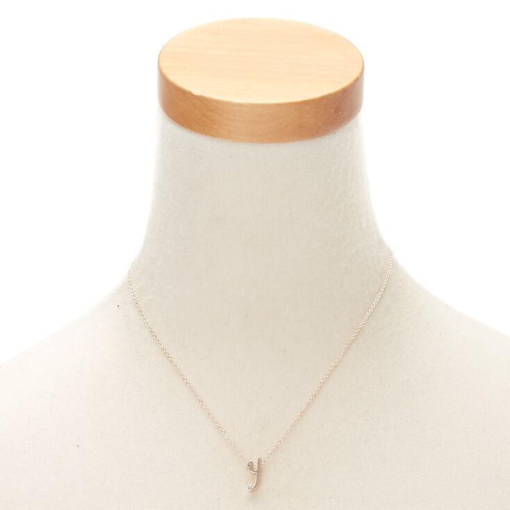 Rose Gold Cursive Initial Pendant Necklace - Y,