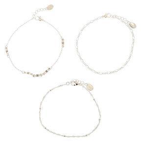 Bracelets de cheville avec chaîne perlée basique couleur argentée - Lot de 3,