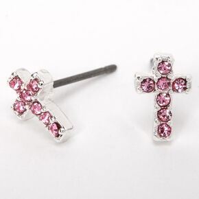 Silver Embellished Cross Stud Earrings - Pink,