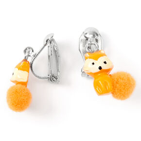 "Silver 0.5"" Farrah the Fox Pom Pom Clip On Drop Earrings - Orange,"