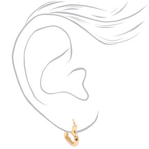 Gold 15MM Tube Heart Huggie Hoop Earrings,