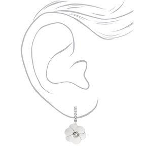 Parure de bijoux collier en Y motif marguerite avec strass couleur argentée - Lot de 2,