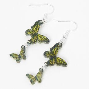 Silver 2.5'' Butterfly Linear Drop Earrings - Yellow,