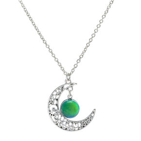 Silver Moon Pendant Mood Necklace,