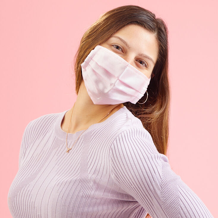 Pink Tulle Pleated Face Mask - Adult,