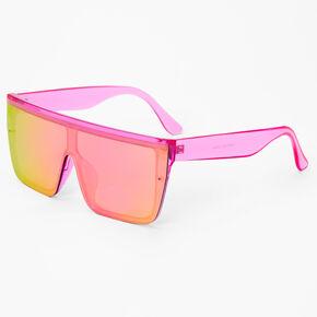Neon Shield Sunglasses - Pink,