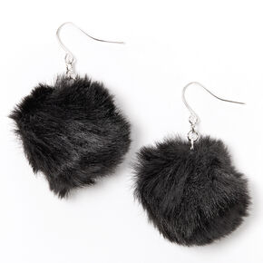 "Silver 2"" Pom Pom Drop Earrings - Black,"