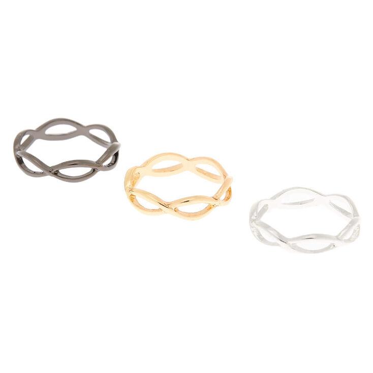 Mixed Metal Looped Rings - 3 Pack,
