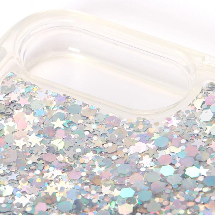 Smile Silver Glitter Liquid Fill Phone Case - Fits iPhone 6/7/8 Plus,