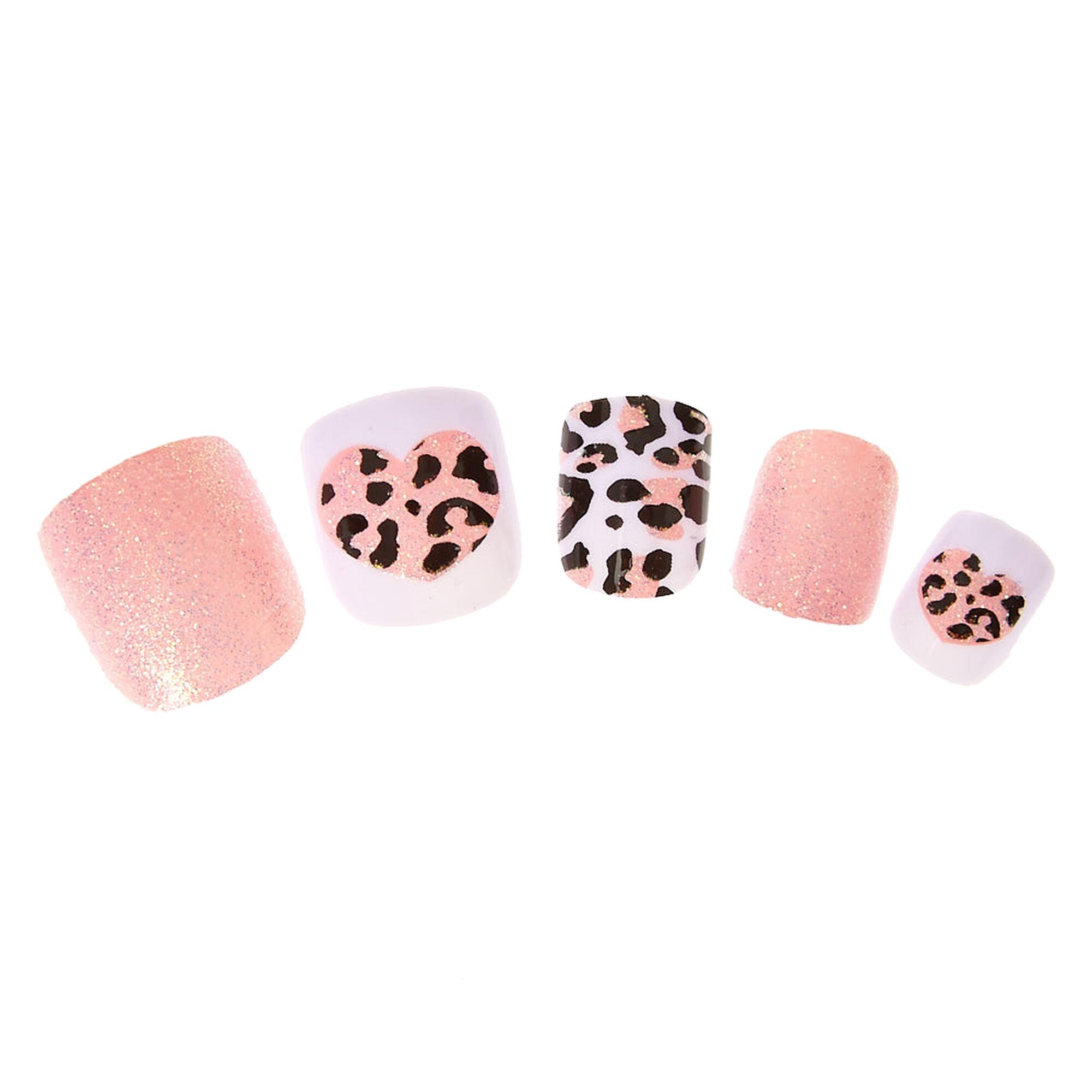 Kids Glittery Pink Leopard Print Press On False Nails | Claire\'s