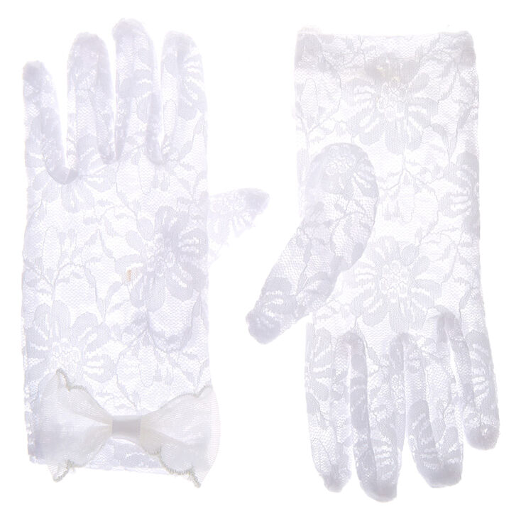 Claire's Club Lace Flower Girl Gloves - White,
