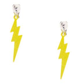 Lightning Bolt Clip On Earrings - Neon Yellow,