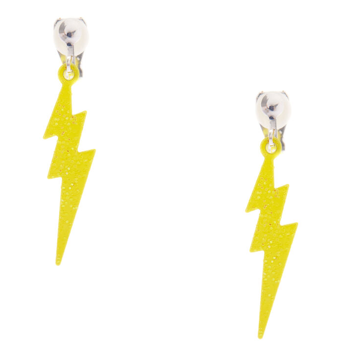 Lightning Bolt Clip On Earrings Neon Yellow Claire S Us