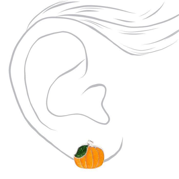 Glitter Pumpkin Halloween Stud Earrings,