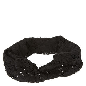 Lace Elasticated Headwrap - Black,