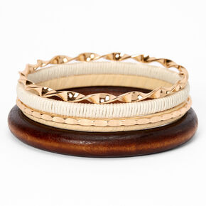 Gold Woven Wooden Bangle Bracelets - Brown, 4 Pack,