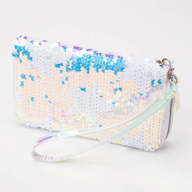 Holographic Sequin Star Wristlet - White,