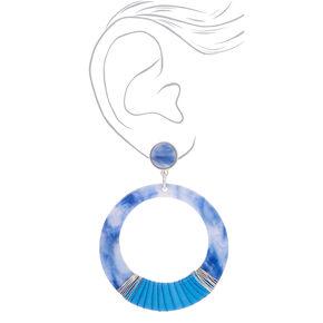 "Silver 2.5"" Round Threaded Resin Drop Earrings - Blue,"