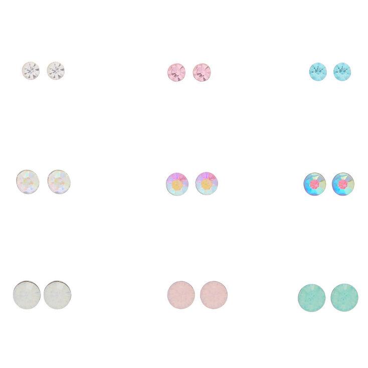 29cd013c20bc1 Multi-Colored Crystal Stud Earrings - 9 Pack