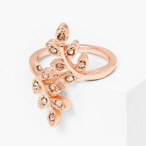 Rose Gold Embellished Leaf Wrap Midi Ring,