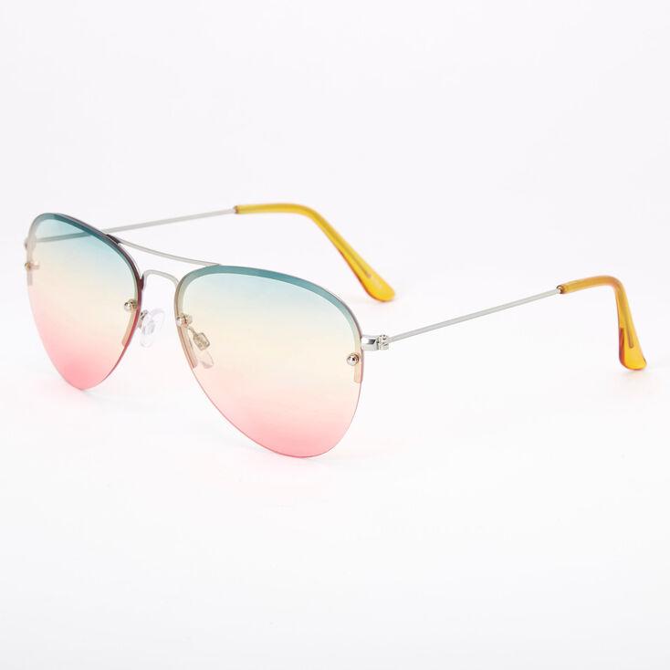 Rainbow Gradient Aviator Sunglasses,