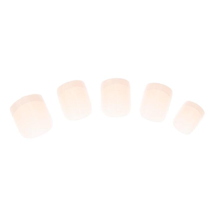 Lot de 24 faux ongles manucure de style français à bout rose,