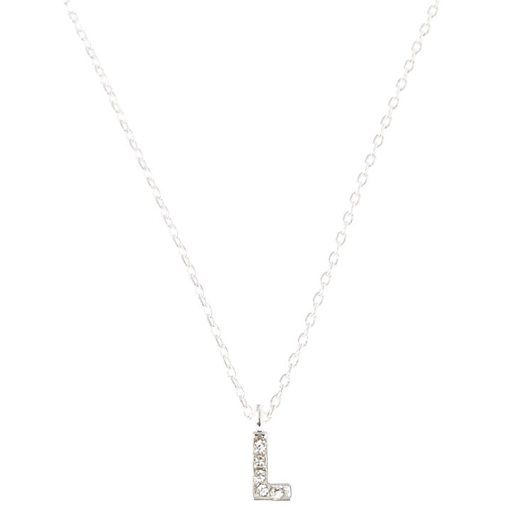 Silver Embellished Initial Pendant Necklace - L,