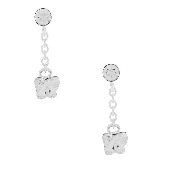 """Sterling Silver 0.5"""" Crystal Butterfly Drop Earrings,"""