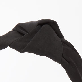 Satin Knotted Headband - Black,