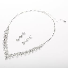 Silver Rhinestone Eye Leaf Jewelry Set - 2 Pack,