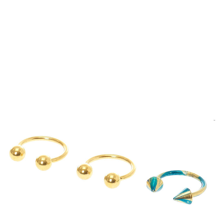 Gold And Blue Eyebrow Piercing Set Claires