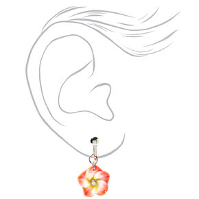 "Hibiscus 1"" Clip On Drop Earrings - Orange,"